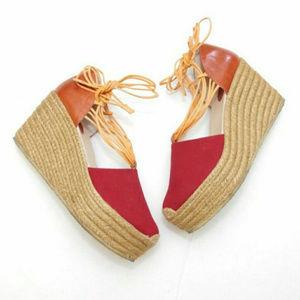 CHLOE Tie Strap Espadrilles Platform Wedge Sandals